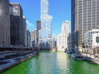 El río de Chicago sorprende de color verde por el día de San Patricio