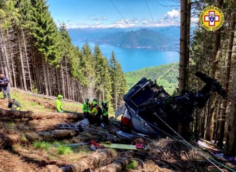 Imagen de la cabina del teleferico tras el accidente