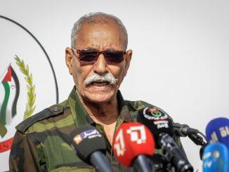 El líder del Polisario en rueda de prensa